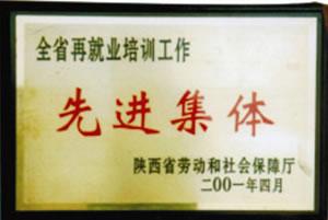 """2001年4月 陕西省劳动和社会保障厅授予全省再就业培训工作""""先进集体"""".jpg"""
